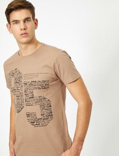 Koton Yazili Baskili T-Shirt Kahve